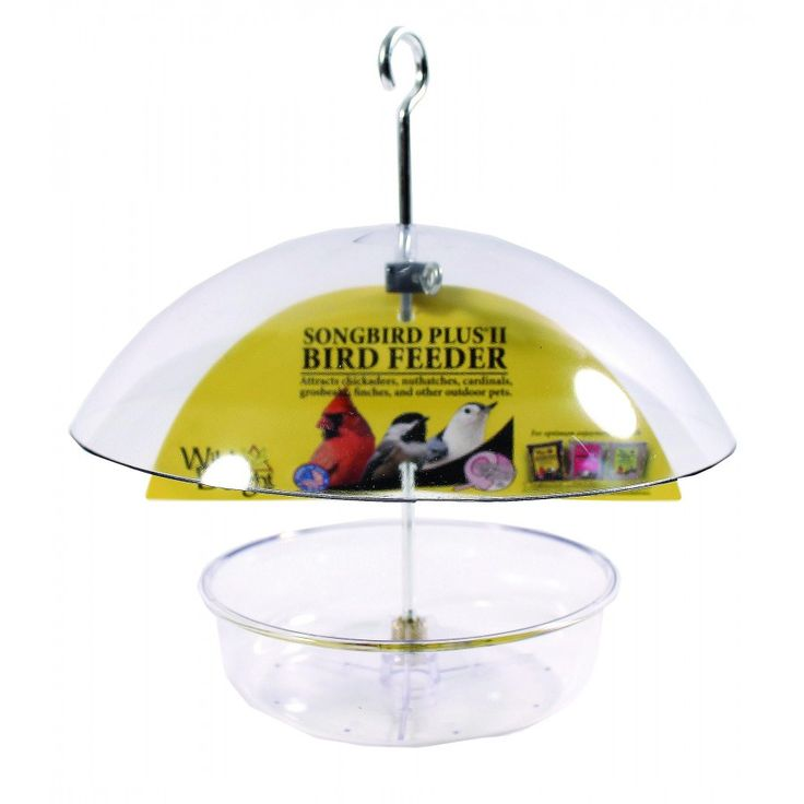 WILD DELIGHT SONGBIRD PLUS II DOME BIRD FEEDER  Features: Attracts chickadees, nuthatches, cardinals, grosbeaks, finches, and other outdoor pets. Multi-purpose covered dish feeder. Great for feeding premium seed mixes, suet, or fruit. Adjustable dome keeps out big birds and weather.