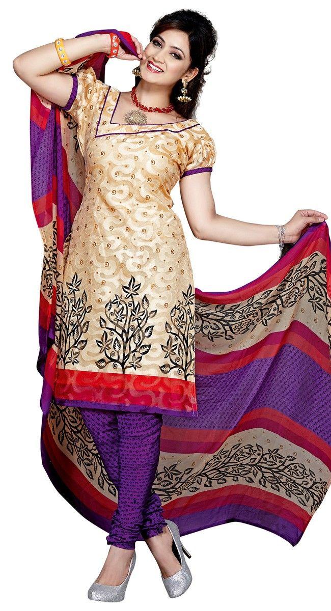 Mesmerizing Cream & Purple Printed #Salwar #Kameez