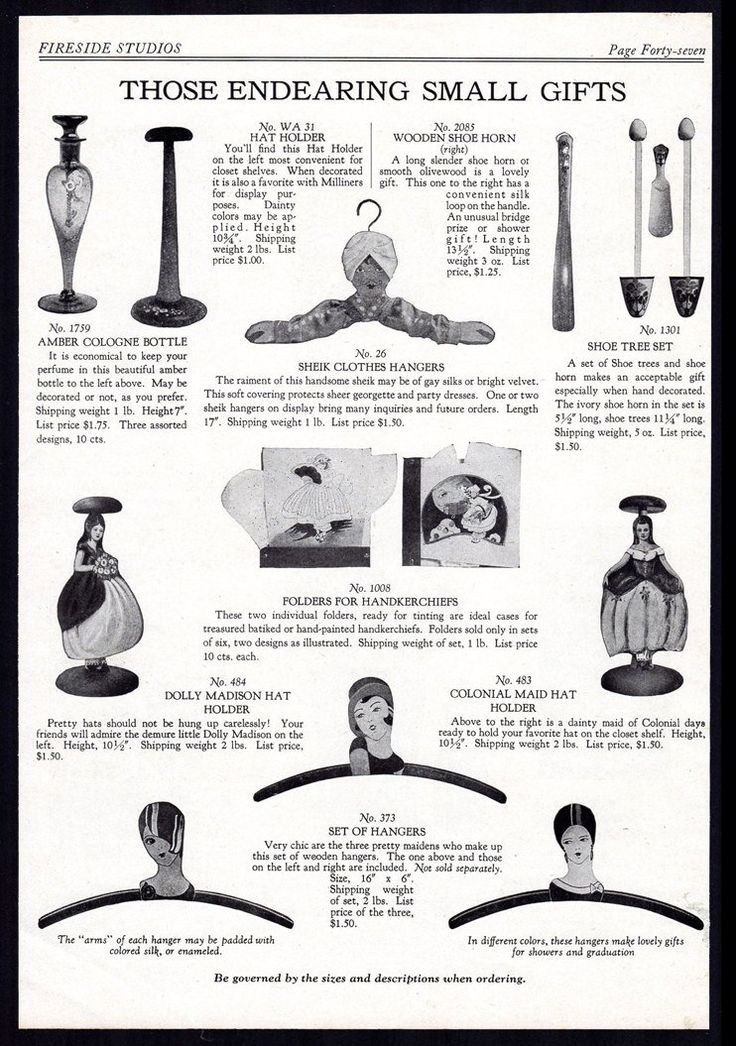 Nouveau Art Graphics Flapper era Novelties Gifts 1928 Catalog AD Hat Holders Decorated Clothes Hangers Collectible Advertisement