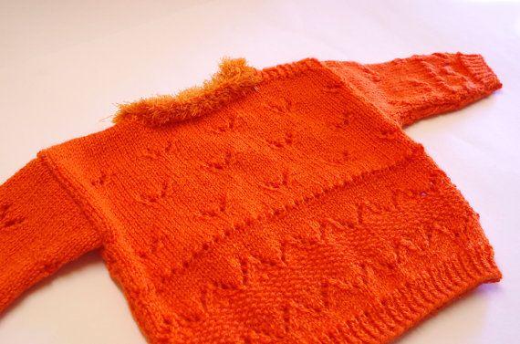 Baby sweater, orange, 4 to 6 months