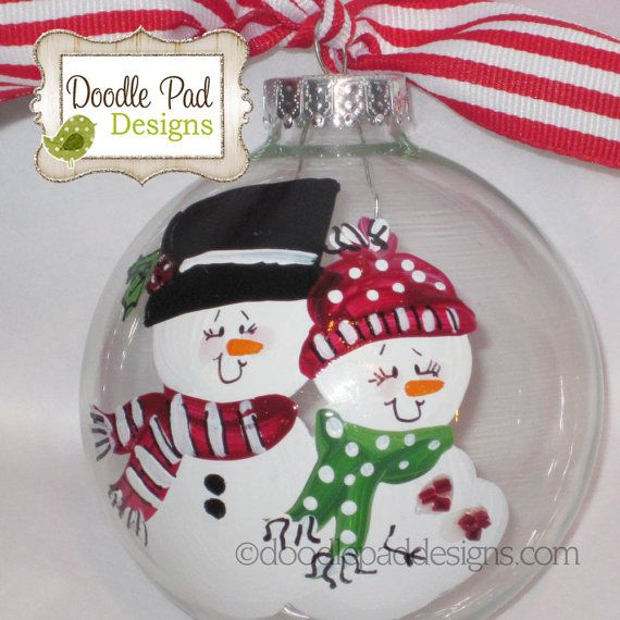 Pregnant Snowman Couple Hand Painted Ornament - Personalized FREE - red and green on Etsy, $15.95
