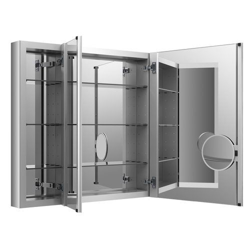 "Can add a frame around the entire cabinet - Kohler Verdera Aluminum Medicine Cabinet with Adjustable Flip Out Flat Mirror, 40"" W x 30"" H"