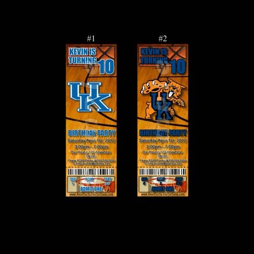 University of Kentucky Ticket Style Personalized Party Invitations | ReelPartyInvitations - Cards on ArtFire