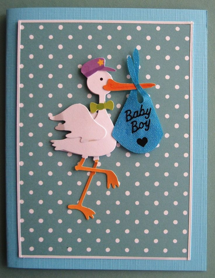 Greeting Card - New Baby Boy - Stork With Baby Bundle Vintage Look Card by PaperHydrangea on Etsy