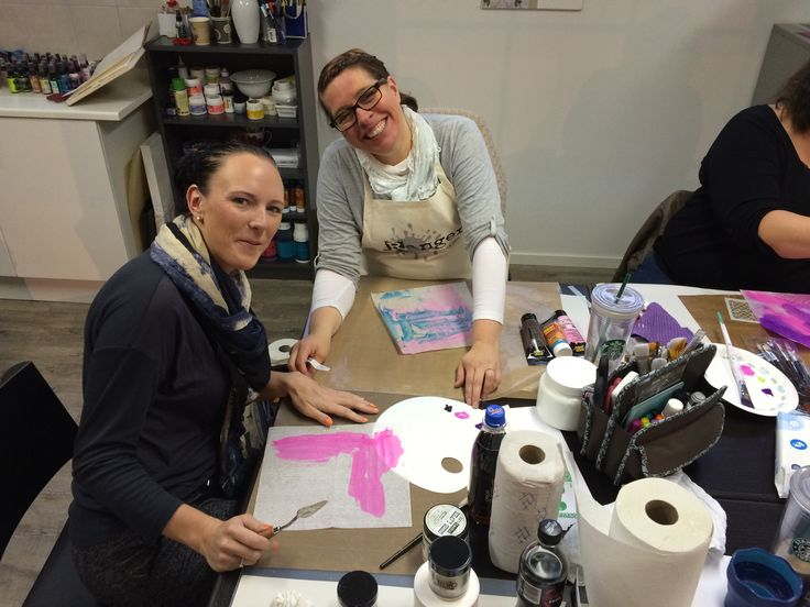 Dina Wakley workshop at HOBBYKUNST in october 2014.