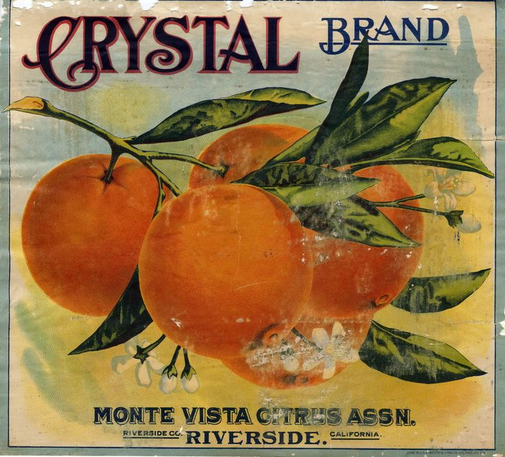 'Crystal Brand' - Illustrated vintage Californian fruit label packaging