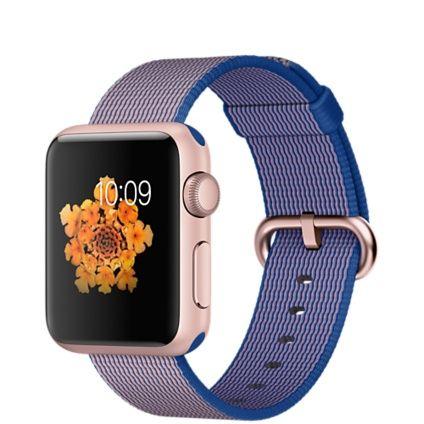 Bald erhältlich - Apple Watch Sport - 38mm Aluminiumgehäuse, Roségold mit Armband aus gewebtem Nylon, Königsblau - Apple (DE)