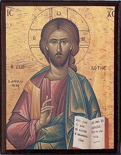 Religious Wooden Jesus Christ Greek Icon. Jesus Christ Pantocrator Icon. Christ the Teacher Icon. 9cms x 6cms #Religious #Wooden #Jesus #Christ #Greek #Icon. #Pantocrator #Teacher