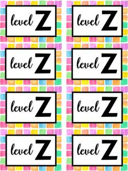 Watercolor Leveled Library Book Bin Labels A-Z