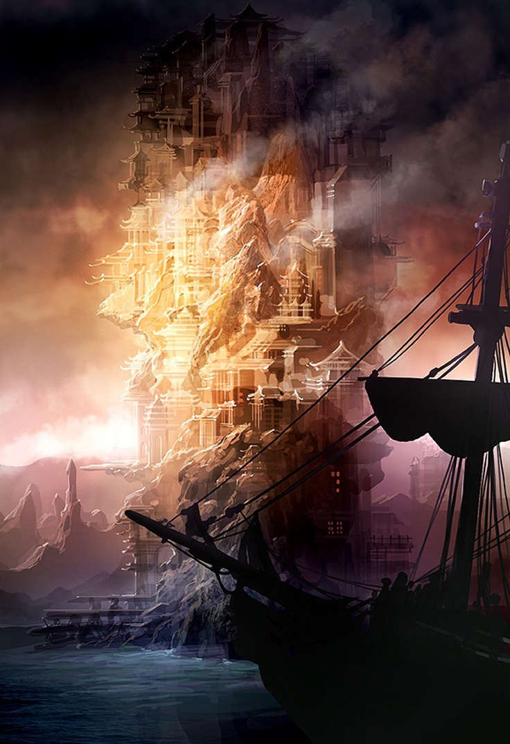 Fantasy ship cliff jolly roger pirate ship rock lightning wallpaper - Mordin The Pirate Island In The South