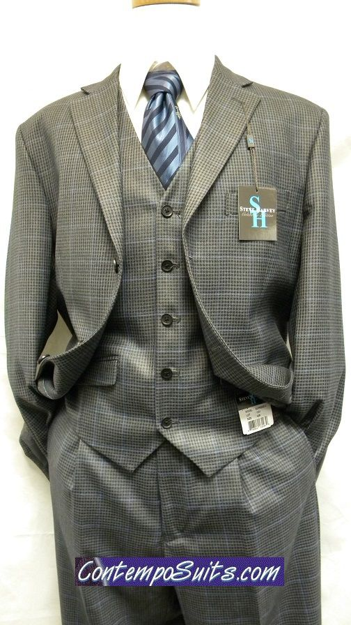 Steve Harvey Suits  3 Piece Grey Mini Check 1231