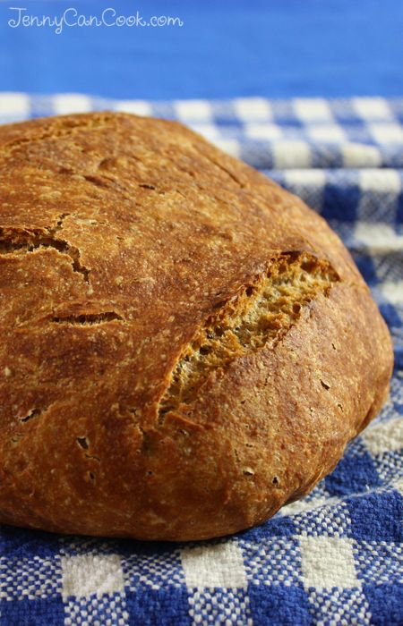 No Knead Whole Wheat Bread recipe from Jenny Jones (JennyCanCook.com) - Anyone can make this hearty whole grain loaf – it's foolproof.