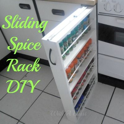 diy sliding spice rack, diy, kitchen cabinets, kitchen design, woodworking projects, The Spice Rack is attached to the counter top with the sliding mechanism