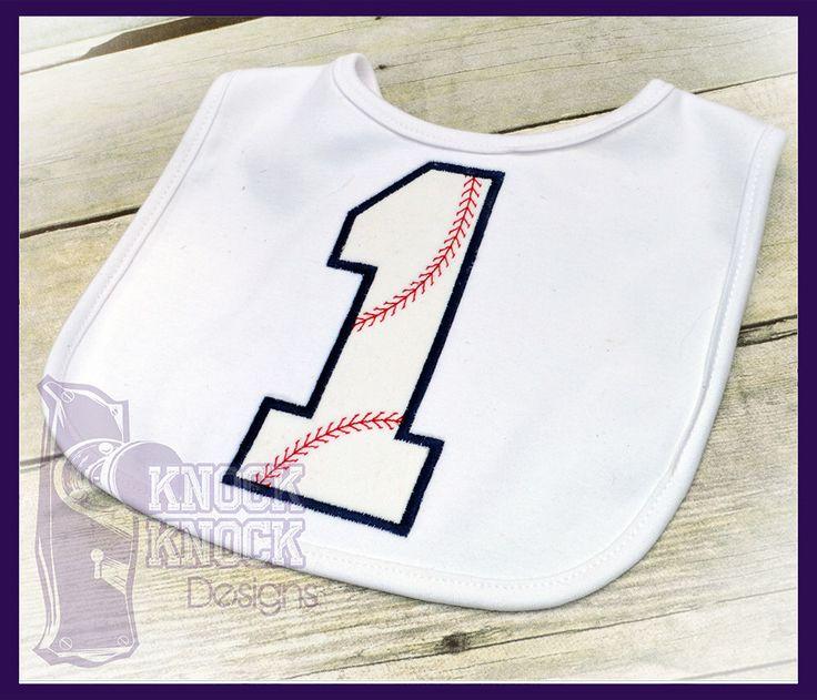 Baseball First Birthday Baby Bib by KnockKnockDesigns on Etsy https://www.etsy.com/listing/219147573/baseball-first-birthday-baby-bib