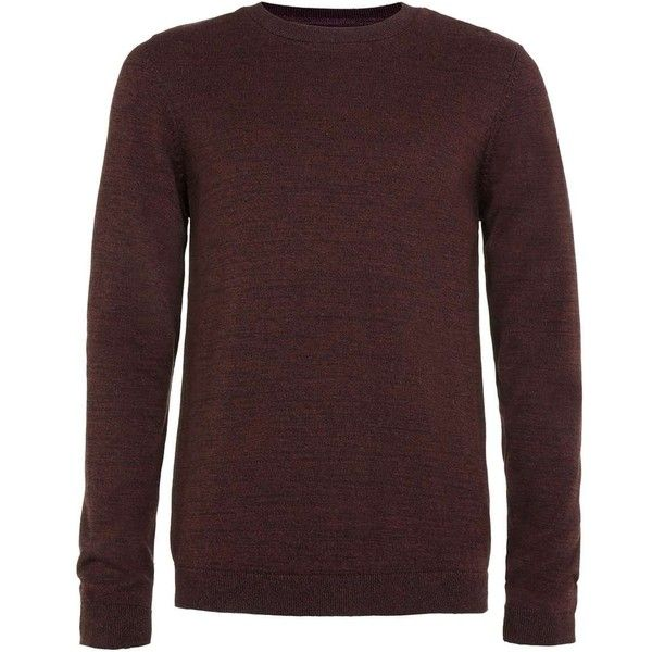 TOPMAN Burgundy and Black Twist Crew Neck Jumper ($32) ❤ liked on Polyvore featuring men's fashion, men's clothing, men's sweaters, red, mens crewneck sweaters, mens crew neck sweaters, mens burgundy sweater, mens cotton crew neck sweater and mens slim fit sweater