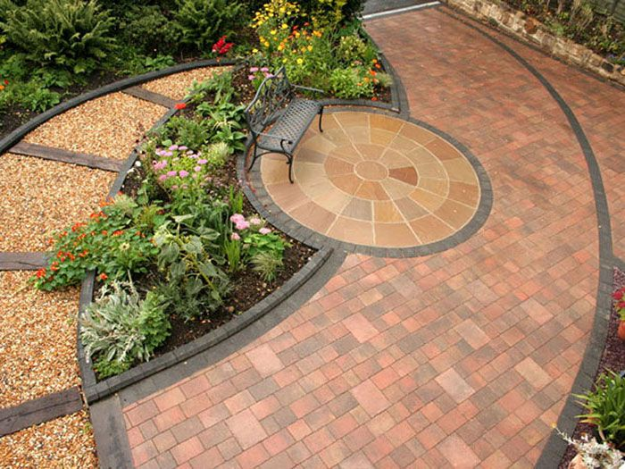 a overhead shot shows the circles and curves that now give the garden impact garden design pinterest gardens circles and patio