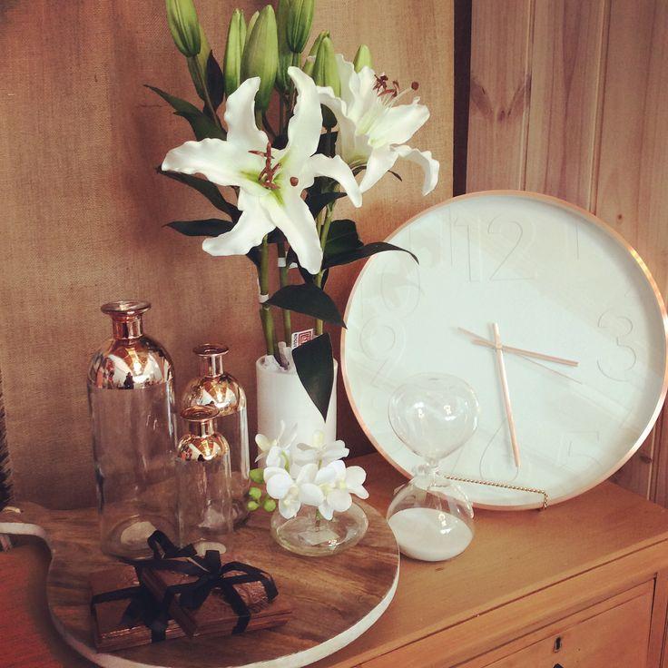 Copper & White #clock #copper #wood #white #homewares #quinceyjac