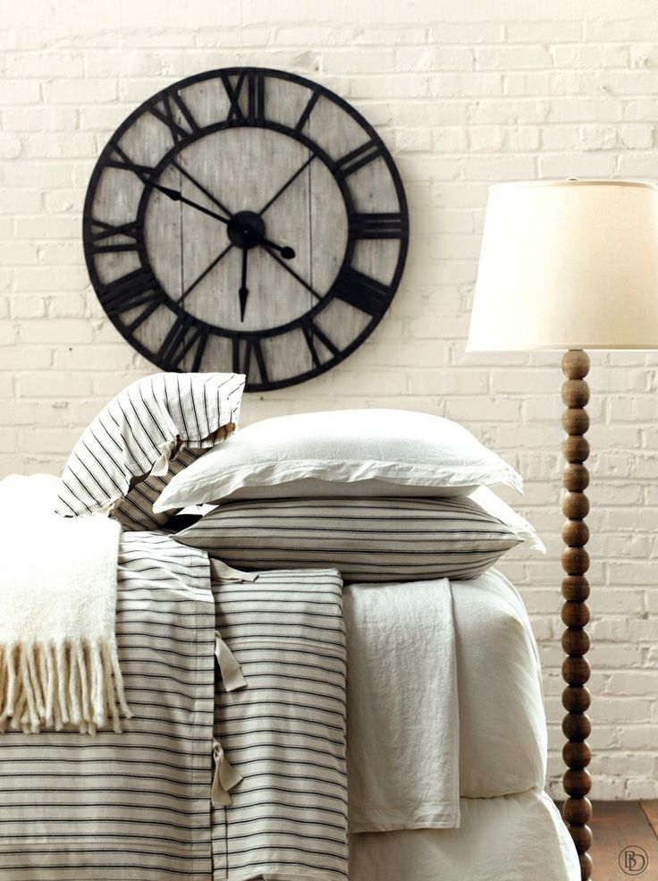 ticking stripe bedding with oversized clock