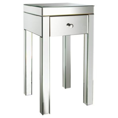"""Threshold™ Mirrored Glass Accent Table with Drawer 25"""" $89.99 at Target"""