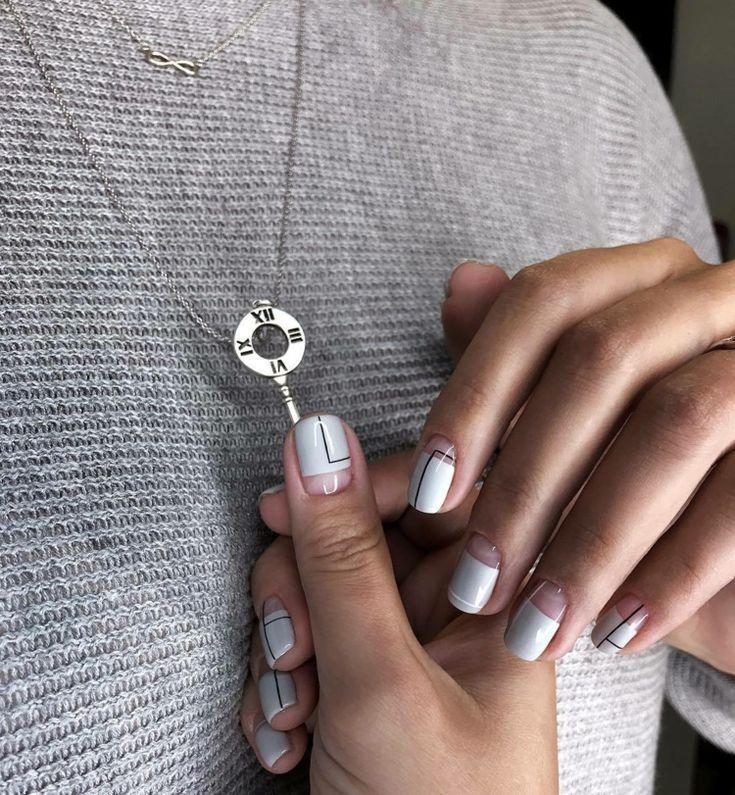 fingernägel gerade gefeilt negative space weiß schwarz nagellack