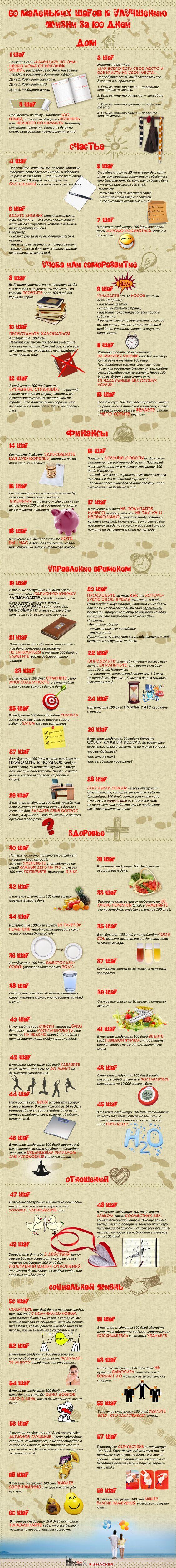ИНФОГРАФИКА: 60 маленьких шагов к улучшению жизни за 100 дней