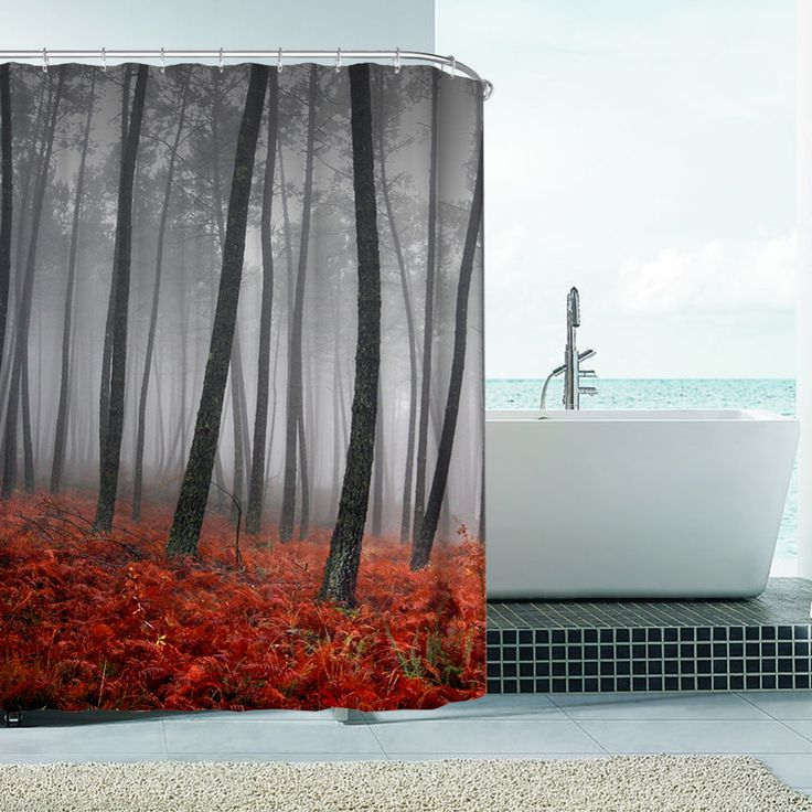 Autumn Italian Forest Waterproof Polyester Shower Curtain High Quality Bath Bathing Sheer for Home Decorations