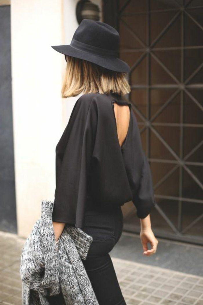 Capeline noire tenue de jour totalement noir