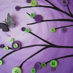 How to paint an easy, effective background- Good for a button tree painting.