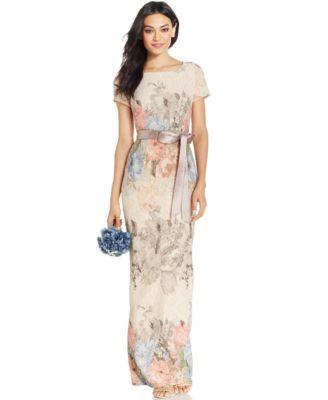Adrianna Papell Floral Matelassé Column Gown