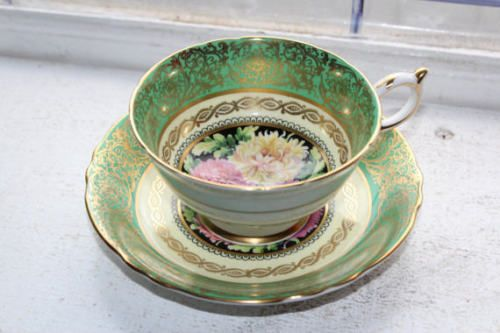 Paragon Tea Cup and Saucer Green with Chrysanthemums Bone China