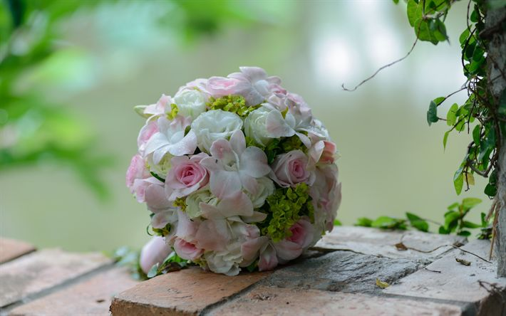 Download wallpapers wedding bouquet, pink roses, bride bouquet, beautiful flowers
