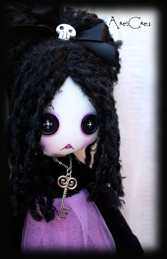 #Goth doll Gretchen, goth cloth doll with #button eyes and skulls. Goth rag doll. Creepy cute doll. Zombie doll. #Gothic doll #handmade - pinned by pin4etsy.com