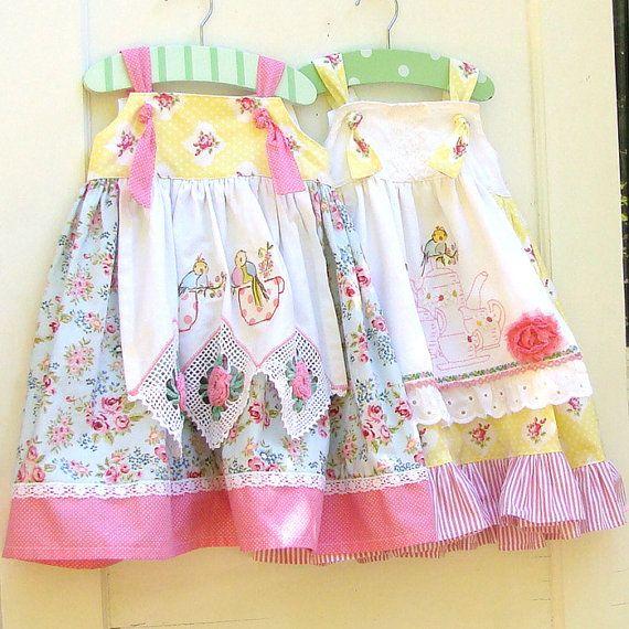 Toddler Girls Tea Party Apron Knot Dress --vintage crochet lace(repurposed tea towels/hankies) for apron