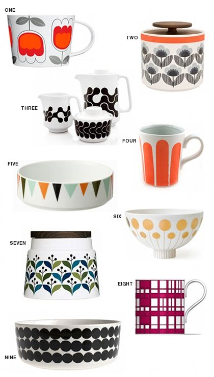 So cute !!!! - Source Blogue : Design is mine     1. Sagaform Tulip Tea Set (£18.50), 2. Orla Kiely Blue Small 1L Storage Jar (£20), 3. Black Links Coffee Service ($64), 4. Striped Mugs ($40), 5. Marionette Bowl ($25), 6. Futura Large Bowl ($135), 7. retro storage container short ($20), 8. Robin Hood Gardens mug (£10), and 9. Rasymatto Serving Bowl ($52