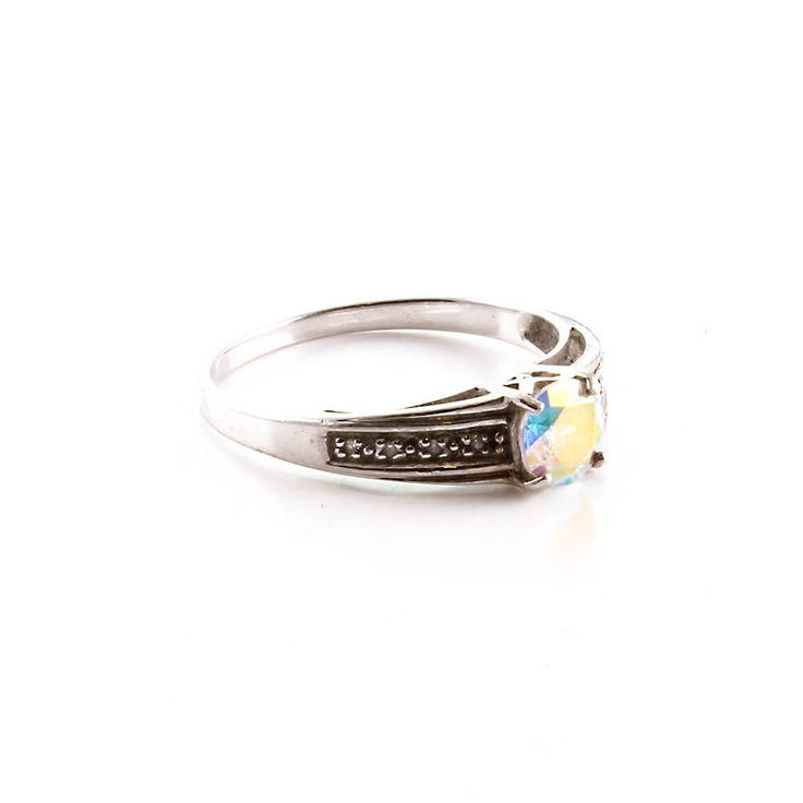 Moderner Damen Mondlicht Topas und Diamant Ring in Silber 925 gefasst