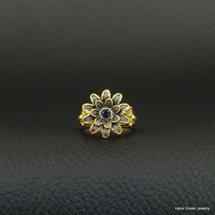 SAPPHIRE FLOWER STYLE 925 STERLING SILVER 22K GOLD &BLACK RHODIUM PLATED RING #IreneGreekJewelry #Cocktail