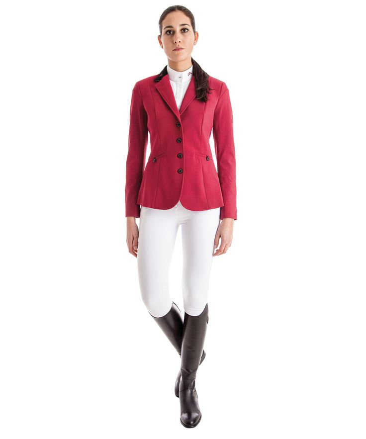Lady tech fabric horse riding jacket model Cindy. To ensure the comfort of movements. Made in Italy. Total look Makebe Style