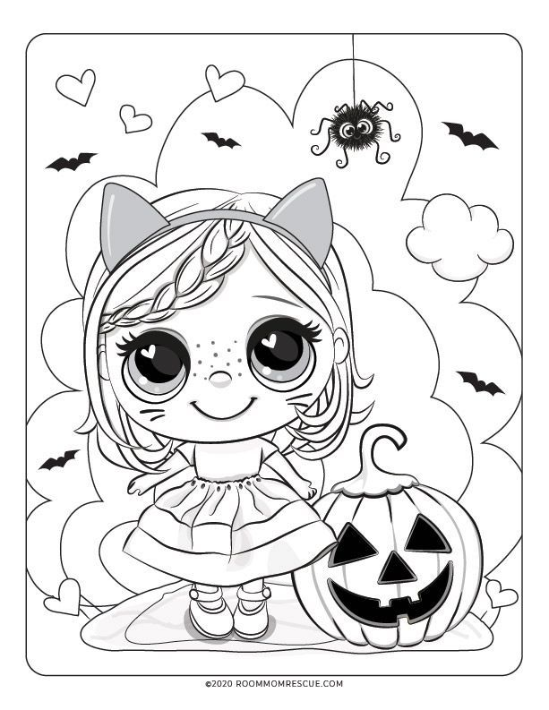Cute Halloween Coloring Page For Kids Cute Halloween Coloring Pages Halloween Coloring Halloween Coloring Sheets