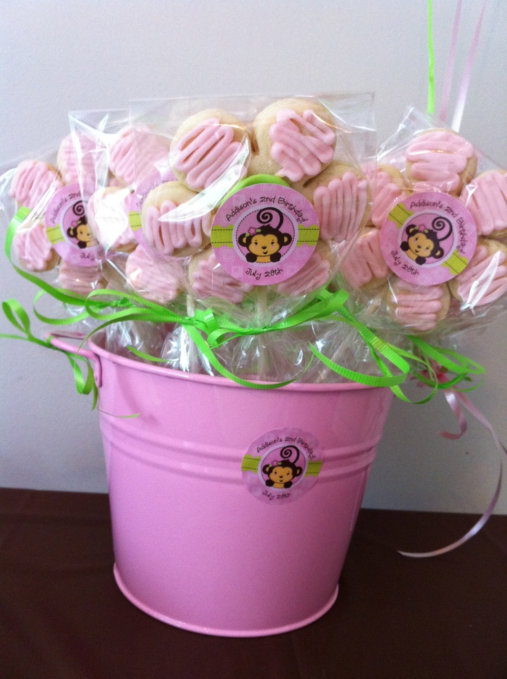 I used the personalized stickers on homemade cookies to make an adorable bucket of party favors that perfectly matched the Monkey Girl theme!