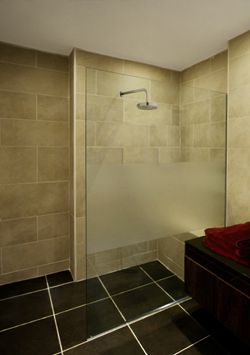 partially frosted shower door gives an open feeling with a sense of privacy