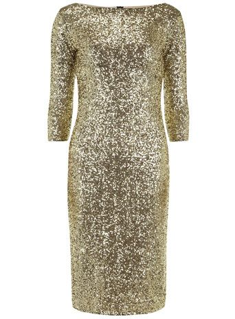 sequin gold midi