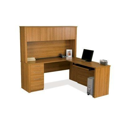 """Bestar Embassy L-Shaped Workstation Kit in Cappuccino Cherry Finish by bestar. $781.78. Cappuccino Cherry. Embassy offers numerous configuration possibilities for various uses. Offering smaller desks, this collection is ideal for every type of workplace including the home office. The worksurface is made of a durable 1"""" commercial grade work surface with melami"""