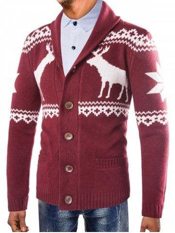 Christmas Deer Shawl Collar Button Up Cardigan Ugly Christmas
