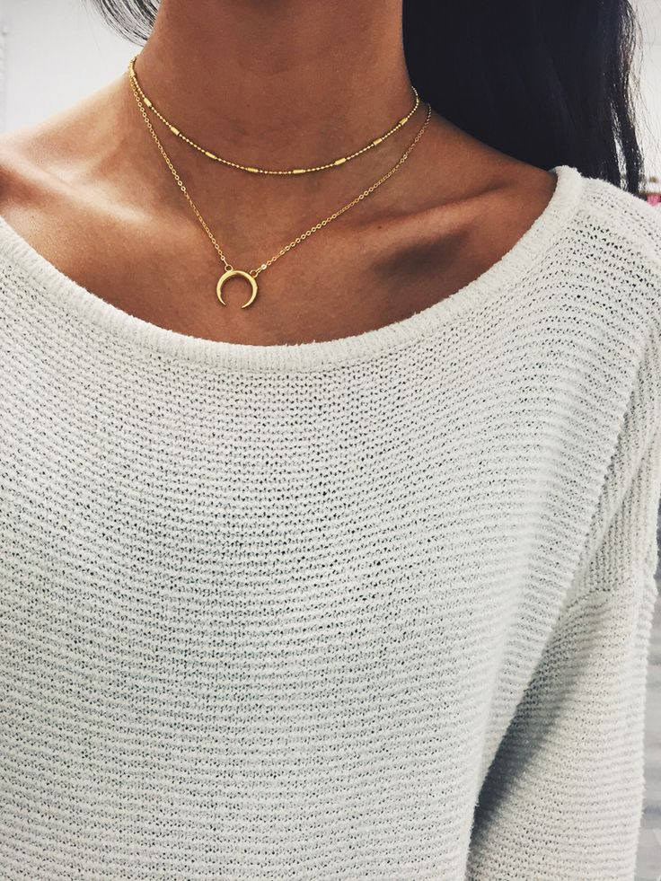 "Double Horn Necklace on an 18-21"" inch chain, or 14k gold plated chain. Simple yet trendy! Paired with our simplicity necklace in gold."