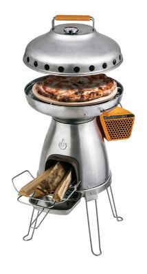 "Make wood-fired meals and charge your electronic devices at the same time using BioLite's BaseCamp Stove. 23""H x 18.11""W x 17.52""D. Ht. when legs folded: 15"". Cooking surface: 13.25"" dia. Wt: 20 lbs."