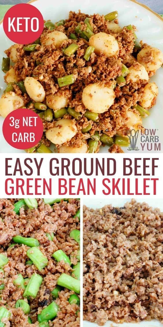 Green Bean Ground Beef Keto Skillet Dish | Dinner with ground beef, Beef recipes for dinner ...