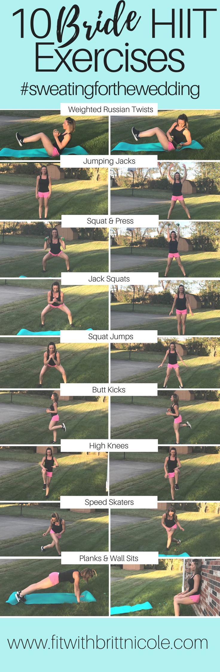 Wedding weight loss HIIT workouts! Start sweating and toning for special events you have coming up with these fat torching HIIT exercises!