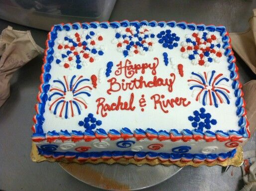Buttercream Fireworks 4th Of July Themed Sheet Cake My