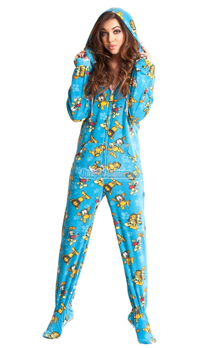 Garfield Footed Pajamas -These Footies are loaded with extras featuring: Hoodies, thumb holes, logo zipper pull, front kangaroo pockets and a left shoulder iPhone pocket.  $49.99
