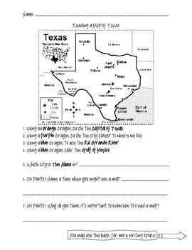 An assessment of mapping skills. Students must use the map of Texas to find important places, such as the capital, The Alamo, the Texas city closes...